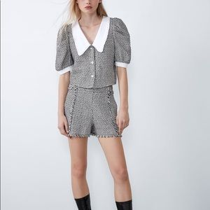 NWT ZARA tweed set top+ shorts size S / M